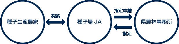 種子生産農家←契約→種子場JA→指定申請、指定←県農林事務所