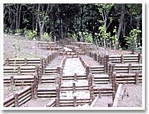 間伐材を利用した木柵水路工(同)